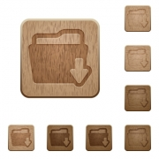 Set of carved wooden download folder buttons in 8 variations. - Download folder wooden buttons
