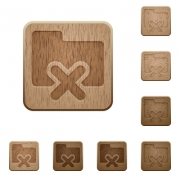 Set of carved wooden folder cancel buttons in 8 variations. - Folder cancel wooden buttons
