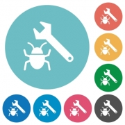 Flat bug fixing icon set on round color background. - Flat bug fixing icons