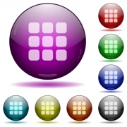 Set of color small grid view glass sphere buttons with shadows. - Small grid view glass sphere buttons