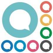 Flat chat icon set on round color background. - Flat chat icons
