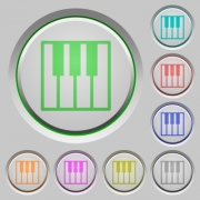 Set of color piano keyboard sunk push buttons. - Piano keyboard push buttons