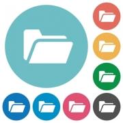 Flat folder open icon set on round color background. - Flat folder open icons