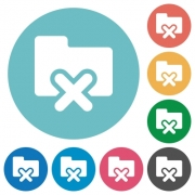 Flat folder cancel icon set on round color background. - Flat folder cancel icons