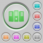 Set of color server hosting sunk push buttons. - Server hosting push buttons