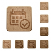 Set of carved wooden Calendar check buttons in 8 variations. - Calendar check wooden buttons