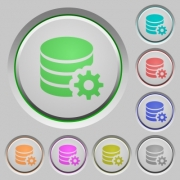 Set of color Database configuration sunk push buttons. - Database configuration push buttons