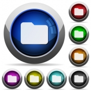 Set of round glossy folder buttons. Arranged layer structure. - Folder button set