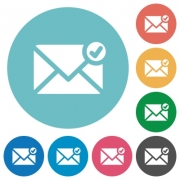Flat mail sent icon set on round color background. - Flat mail sent icons