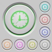 Set of color clock sunk push buttons. - Clock push buttons