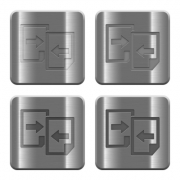 Set of share documents buttons vector in brushed metal style. - Metal share documents buttons