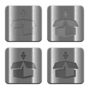 Set of pack buttons vector in brushed metal style. - Metal pack buttons
