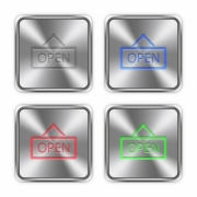 Color open sign icons engraved in glossy steel push buttons. - Color open sign steel buttons