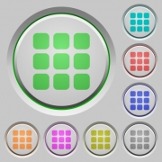 Set of color Small grid view sunk push buttons. - Small grid view push buttons