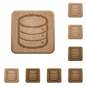 Set of carved wooden database buttons in 8 variations. - Database wooden buttons