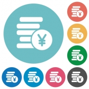Flat yen coins icon set on round color background.