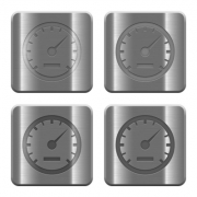 Set of speedometer buttons vector in brushed metal style. - Metal speedometer buttons