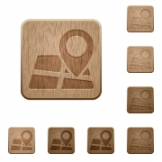 Set of carved wooden Map location buttons in 8 variations. - Map location wooden buttons