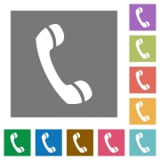 Call flat icon set on color square background. - Call square flat icons