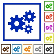 Set of color square framed Gears flat icons on white background - Gears framed flat icons