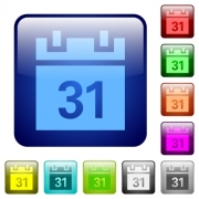 Set of calendar color glass rounded square buttons - Color calendar square buttons