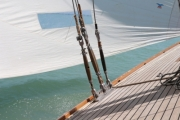 Classic wooden yacht's teek deck - Sailing