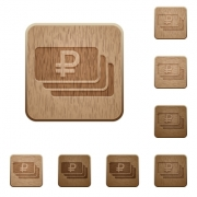 Set of carved wooden Ruble banknotes buttons in 8 variations. - Ruble banknotes wooden buttons