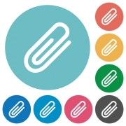 Flat attachment icon set on round color background. - Flat attachment icons