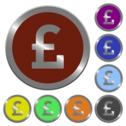 Set of glossy coin-like color pound sign buttons. - Color pound sign buttons