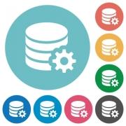 Flat database configuration icon set on round color background. - Flat database configuration icons