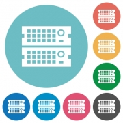 Flat rack servers icon set on round color background. - Flat rack servers icons