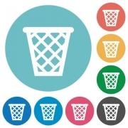 Flat trash icon set on round color background. - Flat trash icons