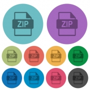 Color zip file format flat icon set on round background. - Color zip file format flat icons