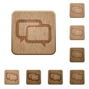Set of carved wooden Chat bubbles buttons in 8 variations. - Chat bubbles wooden buttons