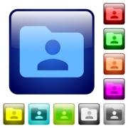 Set of folder owner color glass rounded square buttons - Color folder owner square buttons