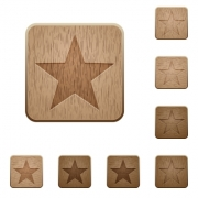 Set of carved wooden favorite buttons in 8 variations.