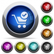 Set of round glossy Checkout buttons. Arranged layer structure. - Checkout button set