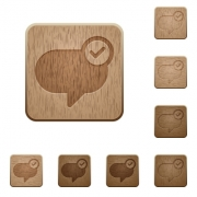 Set of carved wooden Message sent buttons in 8 variations. - Message sent wooden buttons