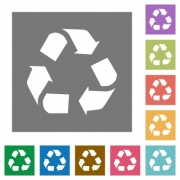 Recycling flat icon set on color square background. - Recycling square flat icons