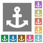 Anchor flat icon set on color square background. - Anchor square flat icons
