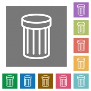 Trash flat icon set on color square background. - Trash square flat icons