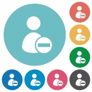Flat Remove user profile icon set on round color background. - Flat Remove user profile icons