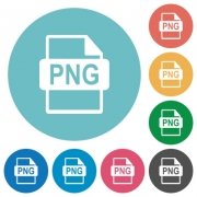 Flat PNG file format icon set on round color background. - Flat PNG file format icons