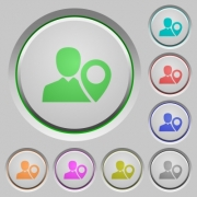 Set of color User location sunk push buttons. - User location push buttons