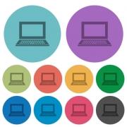 Color laptop flat icon set on round background. - Color laptop flat icons