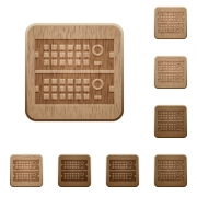 Set of carved wooden Rack servers buttons in 8 variations. - Rack servers wooden buttons