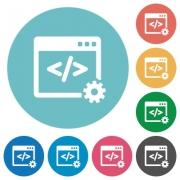 Flat web development icon set on round color background. - Flat web development icons