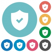 Flat active security icon set on round color background. - Flat active security icons