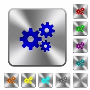 Engraved gears icons on rounded square steel buttons - Steel gears buttons
