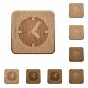 Set of carved wooden clock buttons in 8 variations. - Clock wooden buttons